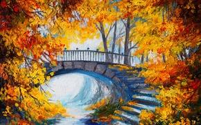 Picture autumn, trees, steps, color, the bridge, trees, bridge, autumn, time of the year, color, stairs, …