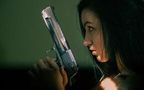 Picture girl, face, gun, weapons, profile, Desert Eagle
