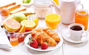 Picture coffee, Breakfast, fruit, cakes, cup, jam, coffee, growing, breakfast, croissant, jam