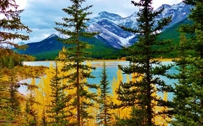 Picture autumn, trees, mountains, lake, Albert, Canada at