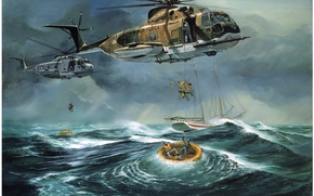 Wallpaper boats, ship, Atlantic Ocean Rescue by Don Millsap, the ocean, helicopters, people, salvation
