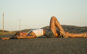 Picture road, ass, eyes, sunset, Girl, blonde, beautiful, shorts, topic, Dream Street, Vladimir Kolesnikov