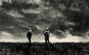Wallpaper clouds, war, solger, war, rain, soldiers, rain
