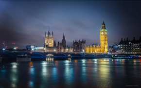 Picture the sky, clouds, reflection, England, London, mirror, Big Ben, The Palace of Westminster, the river ...