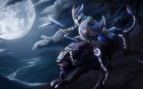 Picture look, girl, night, blue, pose, background, beauty, armor, Cat, The moon, garden, hero, shield, rider, …