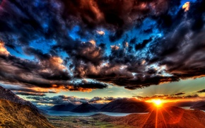 Wallpaper MOUNTAINS, HORIZON, The SKY, The SUN, CLOUDS, RIVER, SUNSET, CLOUDS, LIGHT, RAYS, BEAUTY, DAL, VALLEY