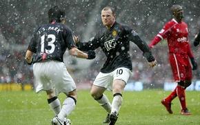 Picture joy, football, Wayne Rooney, Park JI Sung, M.U.