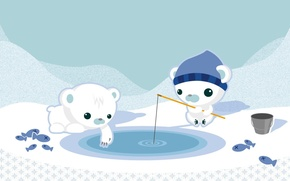 Picture snow, figure, fishing, bears