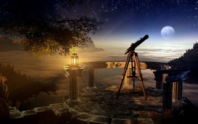 Picture the sky, grass, night, tree, the moon, lamp, stars, Bay, branch, telescope, skygazing