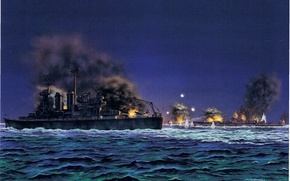 Wallpaper art, Japanese, WW2, linear, cruiser, figure, night, sea battle, Guadalcanal, 14 Nov 1942, American battleship ...