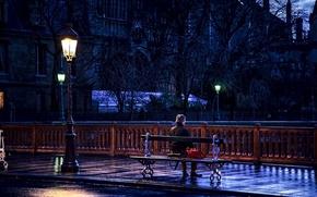 Picture road, bench, mood, France, Paris, lantern, male, sitting