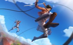 Picture the sky, girl, clouds, sword, anime, art, guy, the battle, renyu1012, shingeki no kyojin, mikasa …