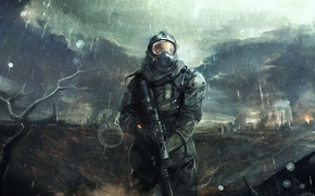 Picture clouds, the city, weapons, rain, art, helmet, male, armor, ruins