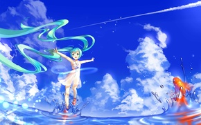Picture the sky, water, girl, clouds, squirt, fish, anime, art, vocaloid, hatsune miku
