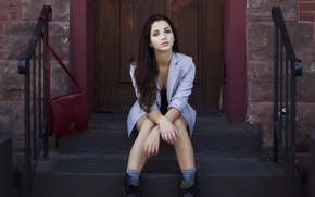 Picture girl, hair, shoes, steps, sitting, emily rudd