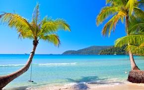 Picture paradise, vacation, island, coast, shore, beach, blue, sand, sea, summer, tropical, the ocean, emerald, the …