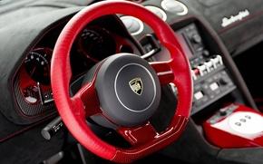 Picture Lamborghini, red, Car, interior, dashboard, instrument panel