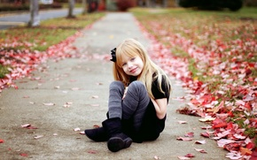 Picture autumn, leaves, mood, girl