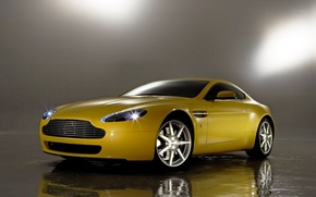 Wallpaper auto, Vantage, reflection, Aston Martin