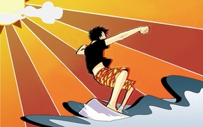 Picture wave, the sun, surfing, one piece, straw hat, Luffy