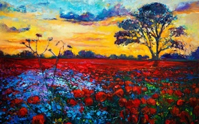 Picture the sky, clouds, trees, landscape, flowers, painting