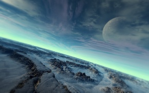 Wallpaper cold, the sky, surface, snow, stones, planet