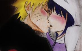Wallpaper girl, kiss, anime, art, guy, Naruto, Naruto, Naruto Uzumaki, Hinata, Hyuuga Hinata