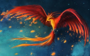 Wallpaper flight, bird, figure, feathers, art, Phoenix
