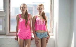 Picture the sun, shorts, window, model, in pink, sisters, Studio