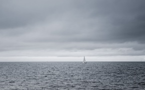 Picture storm, Argentina, boats, horizon, sailing, gray clouds, Buenos Aires, rainy, River of the Silver