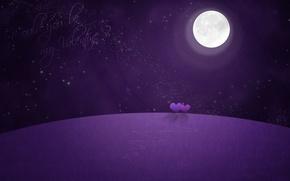 Wallpaper the moon, Valentine, night, hearts, stars