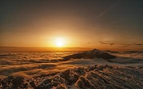 Picture mountains, dawn, morning, Poland, Bieszczady National Park
