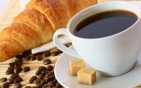 Picture background, coffee, food, grain, mug, Cup, sugar, sweet, napkin, croissants