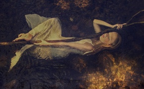 Picture stream, for, composition, art, girl in water