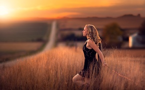 Picture road, field, girl, calm, space