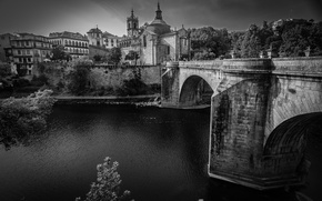 Picture bridge, river, Cathedral, Portugal, architecture, monochrome, Amarante