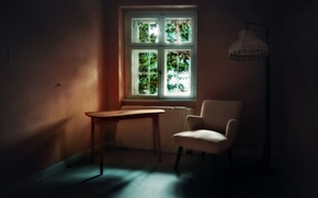 Picture table, chair, window