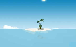 Picture island, minimalism, vector