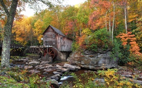 Wallpaper USA, forest, autumn, stream, water mill, Babcock State Park, the bushes, trees, stones