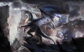 Picture clouds, birds, rocks, dragon, monster, art, roar