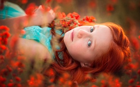Picture girl, freckles, flowers, redhead