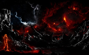 Picture clouds, rocks, fire, dark, people, art, lava, Alberto Vangelista