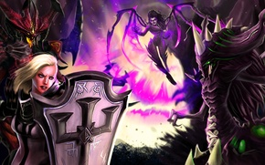 Wallpaper Heroes of the Storm, sarah kerrigan, crusader, Crusader of Zakarum, Lord of Terror, Zagara, Broodmother ...