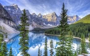 Wallpaper forest, the sky, clouds, snow, trees, mountains, lake, spruce, Alberta, Canada, Canada, Moraine Lake