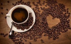 Picture table, heart, coffee, grain, Cup, drink, scattered