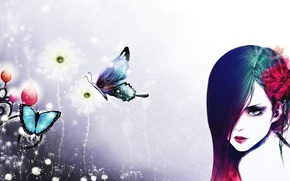 Picture girl, butterfly, flowers, white background, artwork