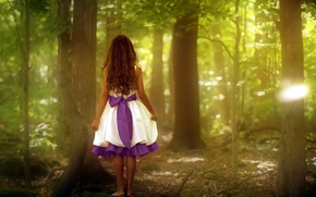 Picture GIRL, FOREST, NATURE, DRESS, TAPE, BOW