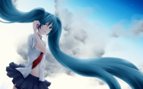 Wallpaper the sky, clouds, tears, phone, vocaloid, hatsune miku, Vocaloid, cell phone, tails