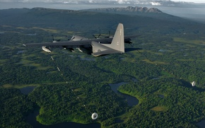Picture flight, the plane, military transport, Lockheed Martin, C-130