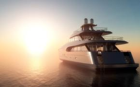 Wallpaper dawn, fog, yacht, 3D, morning, sea